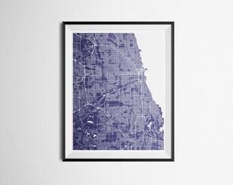Map Print of Chicago, Illinois Metro Area Abstract Street Print