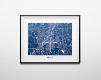 Map of Akron, Ohio Abstract Street Map Print