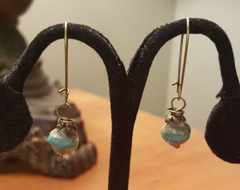 Beautiful Copper Dangle Wire Wrapped Turquoise and Khaki  Earring