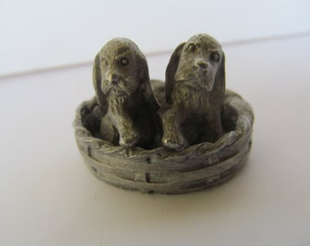 Pewter 2 Puppy's in a Basket