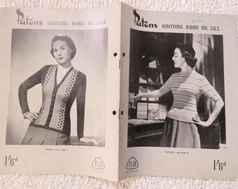 Vintage 1940s / 1950s  knitting pattern book - Patons No. 182 - womens sweaters