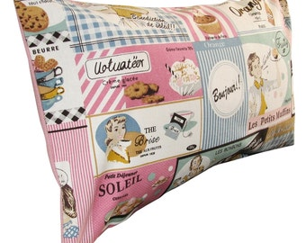 Vintage Retro Lady Baking 50's Pink & Blue Cushion Cover