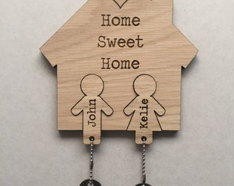 Home Sweet Home His and Hers Key holder and Keyrings