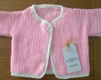 Hand Knitted Baby Girls Short Sleeve Cardigan 0-3 Months Pink,Mint or Lemon