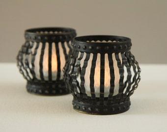 2 Vintage Metal Votives Holders + 2 White Glass Votives Candles Tea lights