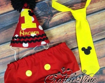 Boys Mickey inspired cake smash outfit