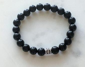 Black Onyx Pave Bracelet, Black Onyx Pave Mala, Mens Black Onyx Mala, Womens Black Onyx Mala, Balck Onyx Pave Mala, mala