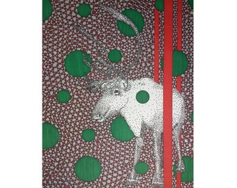 Reindeer Note Card - Christmas Card - Holiday Stationery - Xmas Greeting Card - Blank 5x7 Card - Red Green Card - Wild Animal Card - Modern
