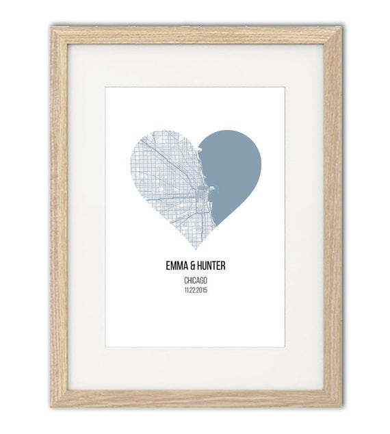 Wedding gift - Chicago City Heart - Chicago city map - Personalized ...