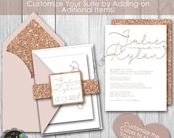 Rose Gold Glitter Printable Wedding Invitation Suite
