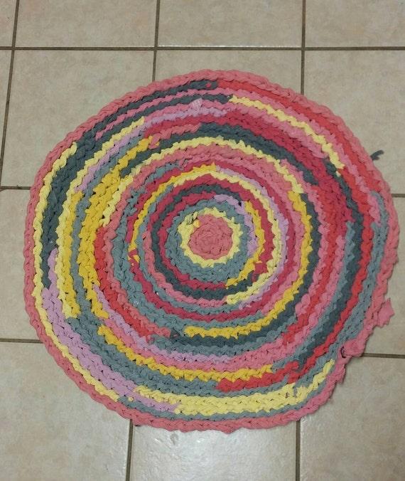 Upcycled T Shirt Rag Rug Pink Lemonade Theme