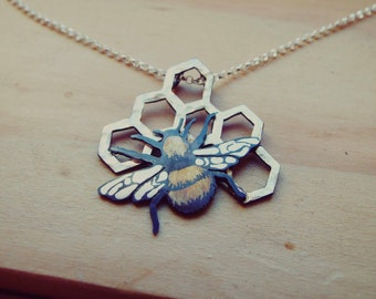 Sterling Silver Honeybee and Honeycomb Necklace