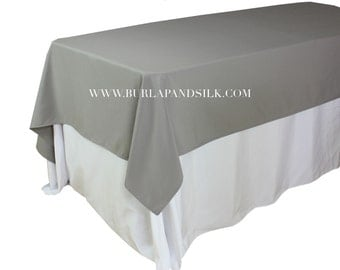 60 x 102 inches Gray Rectangular Tablecloths, Gray Rectangle Table Overlays | Wholesale Gray Table Linens