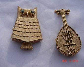 Vintage Avon Owl Pin Brooch And Avon Mandolin