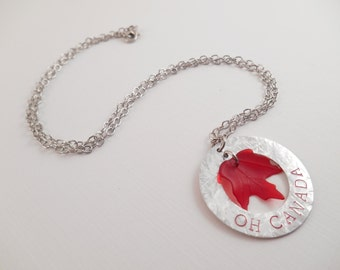 """Maple Leaf Necklace - """"Oh Canada"""" Maple Leaf Aluminum Metal Stamped Washer Charm Necklace"""