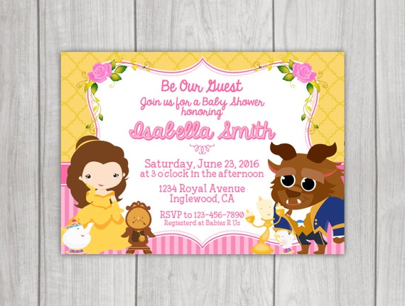 beauty and the beast baby shower invitation by little rainbow blooms