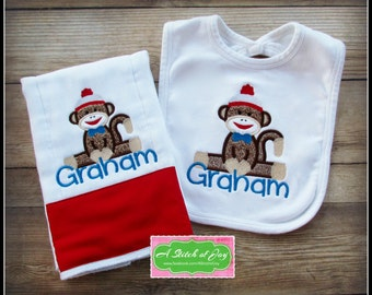 Sock Monkey Baby Bib and Burp Cloth Set