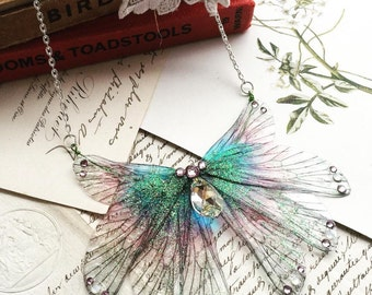 NEW magical purple rainbow wing necklace