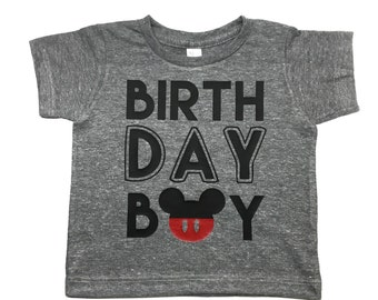 Baby Boy birthday shirt Mouse Birthday Boy shirt for any birthday, mickey themed 1st 2nd 3rd or 4th birthday shirt, little boy birthday shir