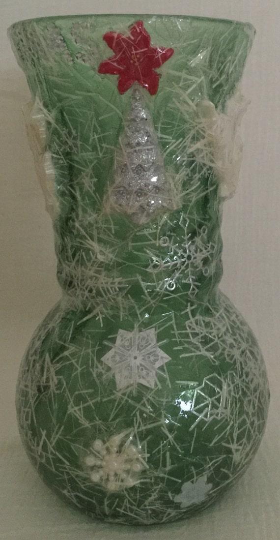 Decoupage vase christmas green glass