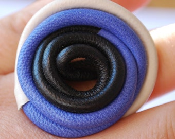 OSFA Leather hand made blue and white spiral arty natural