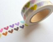 Rainbow Hearts Washi Tape 15mm x 10m