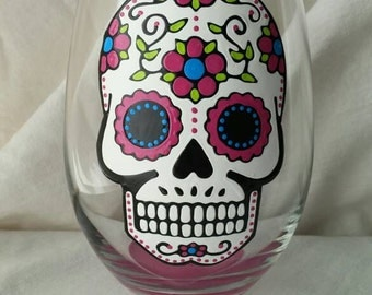 Sugar Skull Hand Painted Stemless Wine Glass Day of the Dead Dia De Los Muertos Pink Turquoise