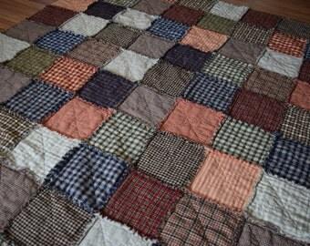 Homespun Rag Quilt, 52.5 x 64...READY TO SHIP!!!