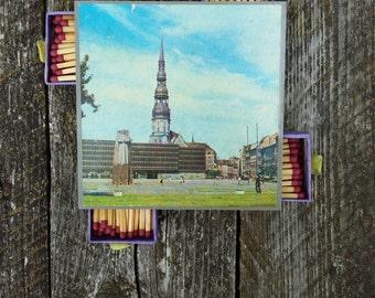 Vintage matchbox set soviet ussr Latvian Souvenir Matches with Riga city View Made in USSR 1970s soviet matchbox