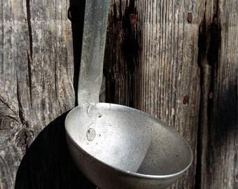 farmhouse kitchen decor vintage soup ladle old aluminum spoon primitive rustic kitchen interior decor
