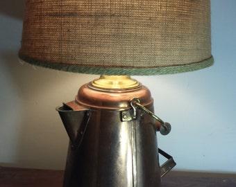 Anitque/vintage copper coffee pot lamp