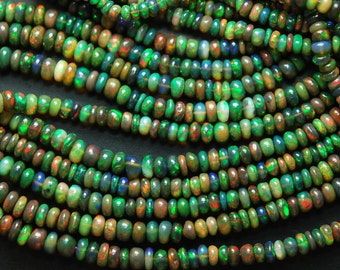 7'' Strand,  Super Fully Green-Red Fire Flash Top Quality, AAA Black Opal Smooth Polished Rondelles, Size 5.5-4mm