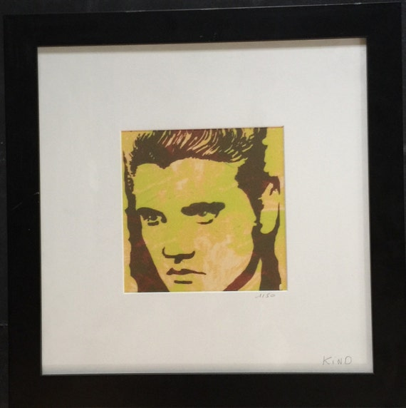 table pop art elvis numbered lithograph by sosthen on etsy. Black Bedroom Furniture Sets. Home Design Ideas