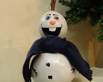 Smiling snowman gourd hand painted Christmas decor gourd art snowman with blue scarf