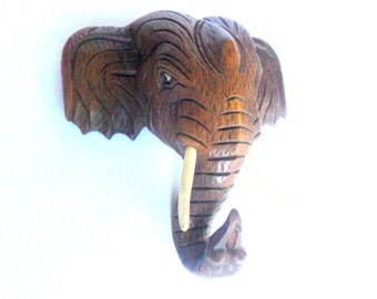 "Wood Carving Elephant Head Natural  Wood Hand Carved Wooden Elephant Wall Hanging Handmade Art Home Decor / Gift 10"" x 10"""