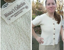 """size S/M Petite organic cotton creamy off white nubby knit short sleeve cardigan top Made in Peru / fits Bust 38""""/97cm"""