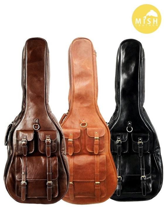 Etui en cuir tui guitare soft case housse de guitare for Housse de guitare