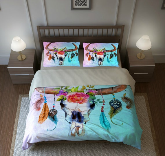Boho Chic Bull Skull Bedding Southwest Dream By Folkandfunky