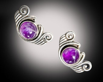 Los Castillo Taxco amethyst sterling screwback earrings