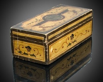 Antique hand painted box with cherubs circa 1890