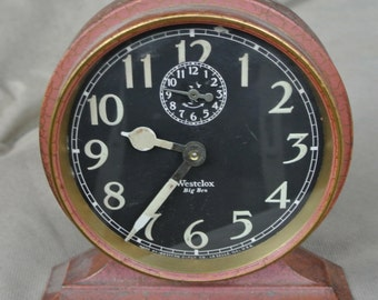 Antique Vintage Westclox Big Ben Wind Up Alarm Clock, Works