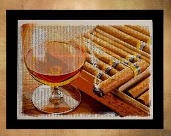 Cigar Box Dictionary Art Print Whiskey Poster Scotch Bourbon Cigar Print Man Cave Home Decor Wall Art da1308