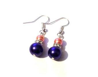 navy blue earrings, Pearl earrings, drop earrings, blue earrings, orange earrings, earrings, bridesmaid earrings,  wedding earrings