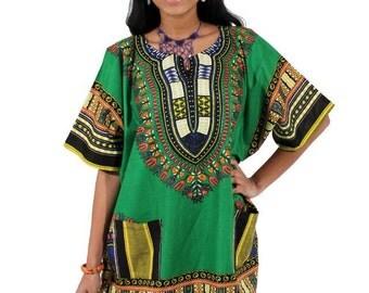 African Dashiki Oversized Green