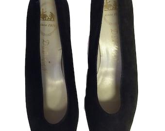 Delman Black Suede Vintage Heels - Size 7.5M
