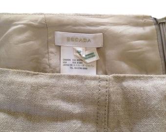 Escada Beige Linen Mini Pencil Skirt (Size 38)