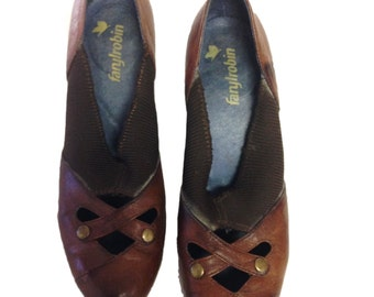 Faryl Robin Brown Leather Heels - Size 8.5 B