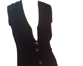 Navy Blue Cashmere Vest Sweater with Leather Buttons