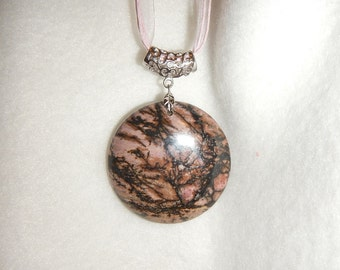 Round Black and Pink Rhodonite pendant (JO471)