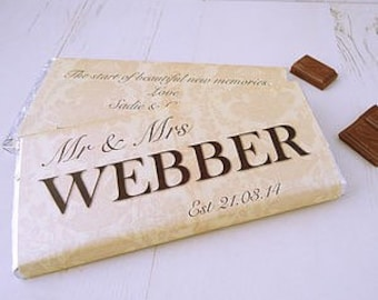 Wedding Chocolate Bar - wedding day gift - bride and groom gift - personalised chocolate